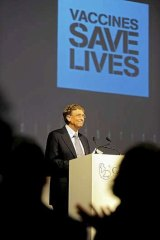 Bill Gates speaking at the Global Alliance for Vaccines and Immunisation conference in London.