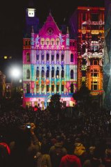 Light projections on a building in Flinders Street.