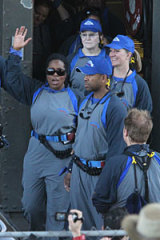 Oprah Winfrey climbed the Sydney Harbour Bridge with hundreds of her audience members.