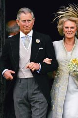 Prince Charles and the Duchess of Cornwall leave St George's Chapel, Windsor Castle, after their marriage in 2005.