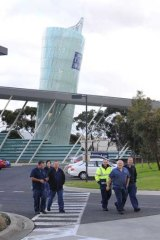 Workers at the Tullamarine print plant at a stop work meeting.