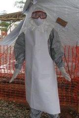 Cairns nurse Sue-Ellen Kovack at work in Sierra Leone.