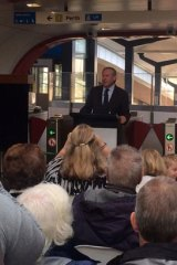 Premier Colin Barnett opens the Butler Train Station.