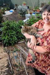 Karen Bembridge in her Wyndham Vale backyard.