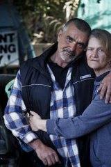 Ronnie and Rhonda Bezzi at home in Shepparton's renamed Glory Way. 'We came here to start a new life.'