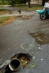 The trouble's not over: A shell that landed in a road in eastern Donetsk.