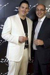 Daniel Tzvetkoff with ex business partner Sam Sciacca at the opening of Zuri nightclub in Brisbane in October 2008.