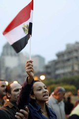 Protesters in Alexandia chant slogans.