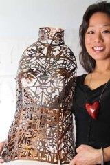 <i>Cheongsam</i> by Elise Benjamin of Sydney. Love Lace Exhibition, Powerhouse Museum.