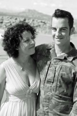 Matthew Lambert with his mother, Vicki Pearce, at the beach before his deployment to Afghanistan.