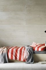 Wide stripe queen quilt cover in blush, from Aura Home.