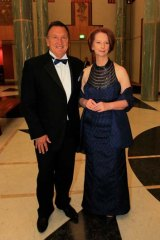 Humour heightened the feelings of edginess ... Julia Gillard and Tim Mathieson arrive at the press gallery's midwinter ball.