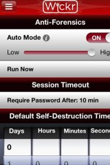 This screenshot of Wickr shows how you can make a message self-destruct.
