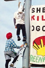 US protest ... a mock hanging in San Francisco in 1995.