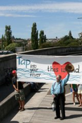 Tasmanians protest against the pulp mill.