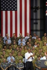 Prime Minister Julia Gillard and US President Barack Obama meet Australian defence personnel during his visit to Australia last year.
