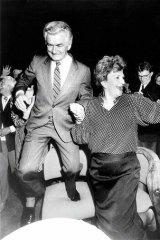 Happy days: Bob Hawke celebrates his election win with Hazel in 1987.