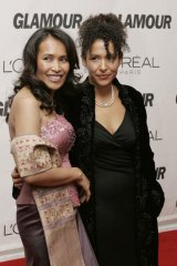 Somaly Mam (left) receiving an award for her work at the 17th Annual Glamour Women of the Year awards at Carnegie Hall in New York in 2006.