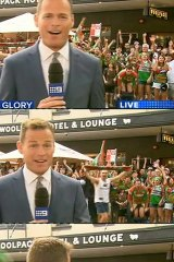 Going, going, gone: Tom Steinfort is caught out during his live cross on Channel Nine.