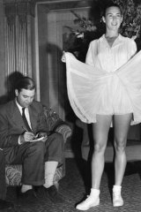 Gertrude 'Gussie' Moran showing off her new bloomer type tennis outfit in 1950.