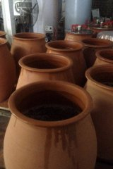 The terracotta pots Brad Hickey uses to ferment his wine.