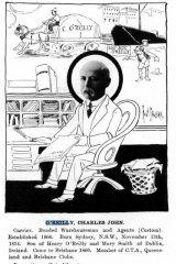 An 1896 cartoon depicting Charles O'Reilly.