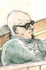 Vince Benvenuto in court yesterday. Illustration: John Ryrie.