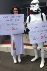 Star Wars protesters at the WestConnex march.