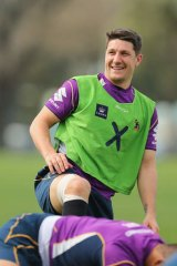 Melbourne Storm's Gareth Widdop stretches during a  training session at Gosch's Paddock on Thursday.