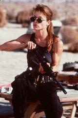 Linda Hamilton in a scene from the movie Terminator 2.
