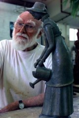 Inspired and disciplined ... Tom Bass with his sculpture of Elizabeth Macquarie.