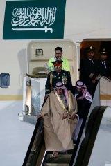Saudi Arabia's King Salman gets stuck on his golden escalator at Vnukovo Airport, outside Moscow, Russia.