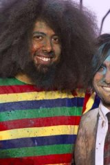 Awkward: Hosts Reggie Watts (left) and Jason Schwartzman left too many long silences during the YouTube awards ceremony.