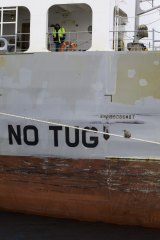 No tug ... just a koala. On board the MV Portland.