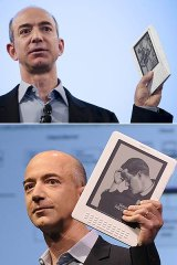 Amazon founder and CEO Jeff Bezos at the launch of the original Kindle in November 2007 (above) and unveiling the Kindle DX (below) in May 2009.