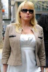 Stripper Linda Naggs outside court.