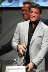 Sylvester Stallone at Comic Con, shortly before he learnt of his eldest son's death.