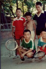 Young talent time ... Li Na (back row, far right) as a child with tennis teammates.