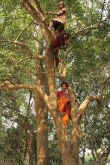 Shahajadi (at bottom) with friends in Pairabondh, Bangladesh.