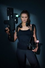 Model Laura Henshaw is outfitted and ready to play at Zero Latency.