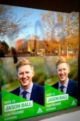 Homophobic graffiti aimed at Greens candidate for Higgins Jason Ball.