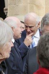 Former PM John Howard talks with former senator Richard Alston, who often negotiated with Brian Harradine.