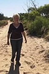 Beth Lawrie re-enacts - gingerly - her long walk to safety.
