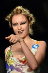 A model presents a creation from the Vivienne Westwood collection during the 2015 spring/summer London Fashion Week.