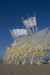 This model of the Strandbeest will be exploring Federation Square in February, while the video above offers a demonstration of how the installations move.