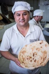 Authentic flavours: Jawad the baker's famous flatbreads are as big as a deflated beach ball and wonderfully delicious.