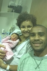 Happy snap: Will Genia with wife Vanessa and daughter Olivia.