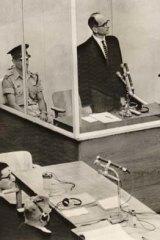 Top-ranking Nazi ... Adolf Eichmann faces trial in Jerusalem in 1961.