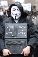 An activist wearing an Anonymous Guy Fawkes mask.