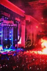 A number of flares were lit during the festival, including this one during the Metallica show.